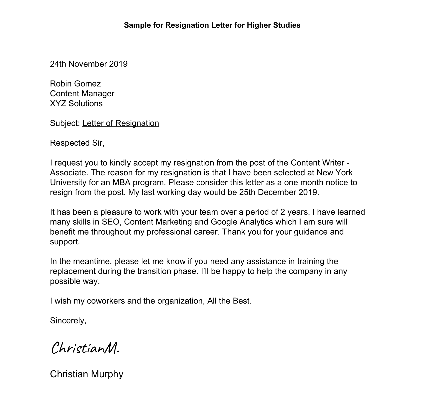 Resignation Letter for Higher Studies Format & Samples   Leverage Edu