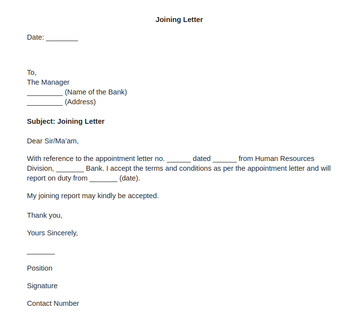 Joining Letter for Bank Employee