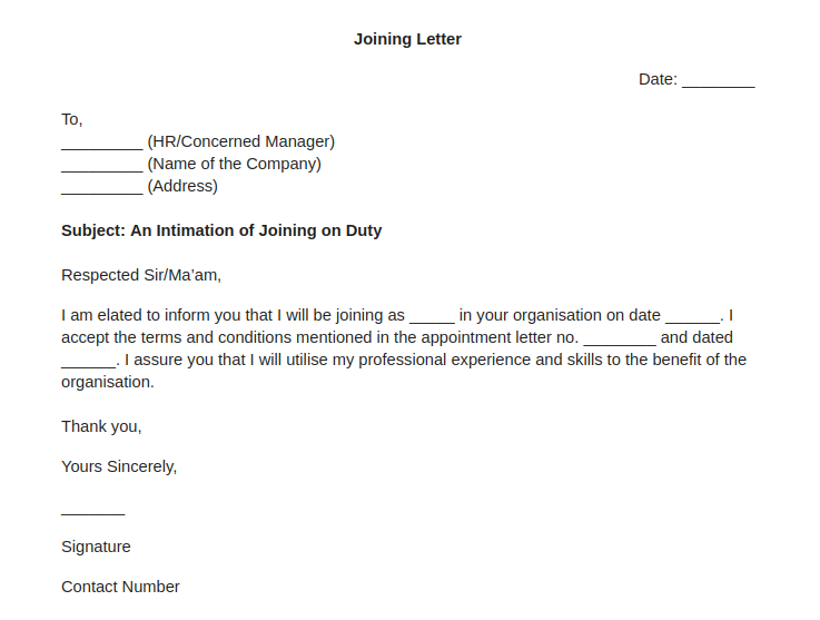 Joining Letter for a New Employee