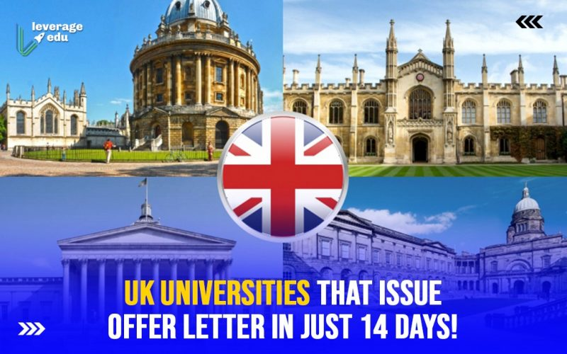 UK Universities That Issue Offer Letter Within 14 Days